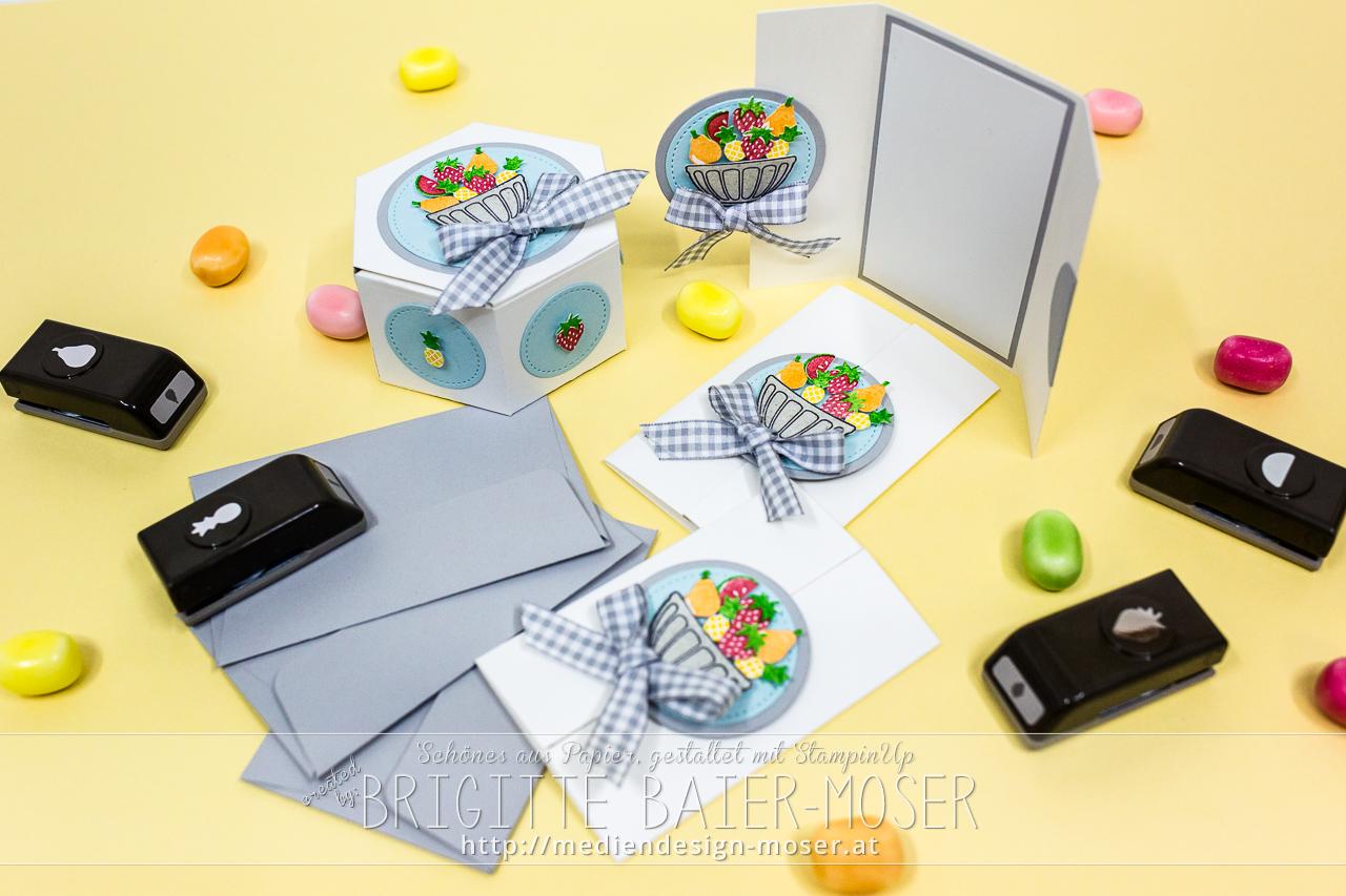 """Verpackung und Karten mit den Handstanzen """"Freche Früchtchen"""" von Stampin'Up!"""