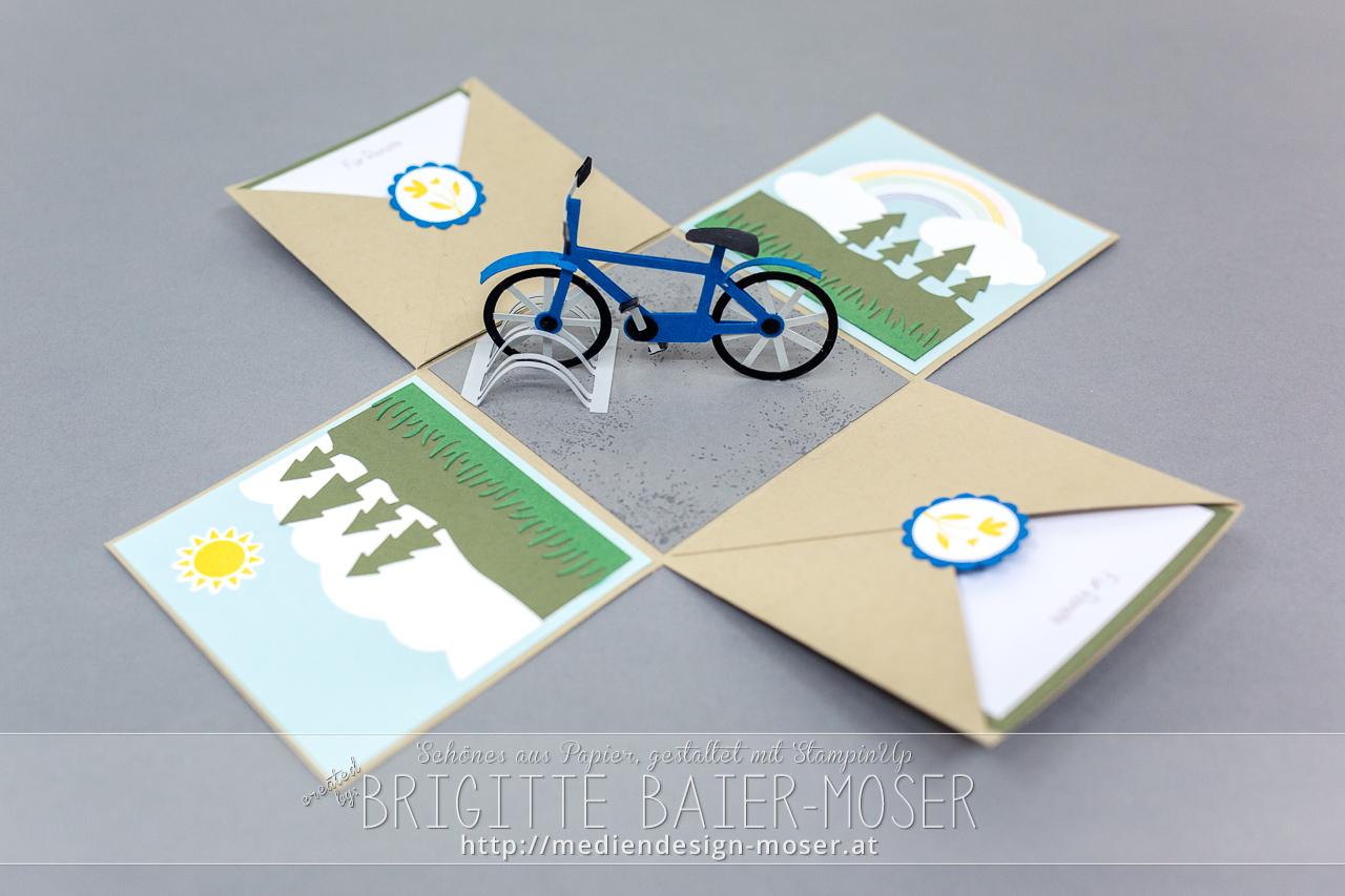 Explosionsbox mit Fahrrad
